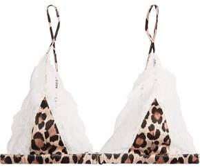 Fleur Du Mal Charlotte Lace-Trimmed Leopard-Print Silk-Satin Soft-Cup Triangle Bra