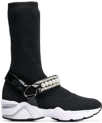 SUECOMMA BONNIE jewelled sock sneakers