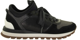 Brunello Cucinelli Shiny Net, Suede And Grained Calfskin Sneakers