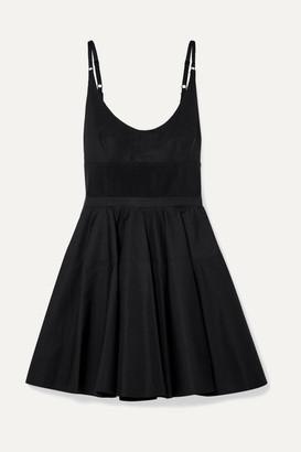 Alexander Wang Rib Knit-trimmed Cotton-poplin Mini Dress - Black