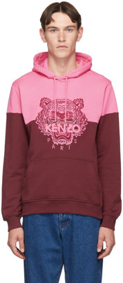 Kenzo Pink and Burgundy Two-Tone Tiger Hoodie