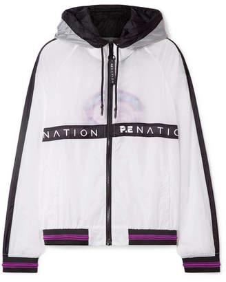 P.E Nation Two Klicks Printed Shell Hooded Jacket - White