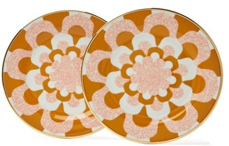 La Doublej - Mosaic Print Porcelain Dessert Plates - Womens - Yellow Multi