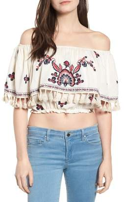 Raga Tessi Embroidered Off-the-Shoulder Crop Top