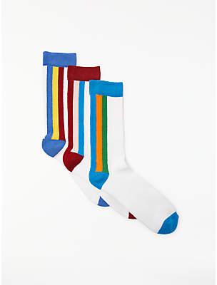 John Lewis Kin by Vertical Sport Stripe Socks, Pack of 3, One Size, White/Multi