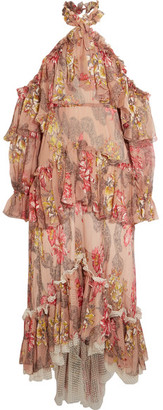 Philosophy di Lorenzo Serafini - Tiered Ruffled Floral-print Silk-chiffon Halterneck Maxi Dress - Blush