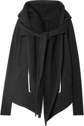 Rick Owens Tie-front Asymmetric Cotton-jersey Hoodie - Black