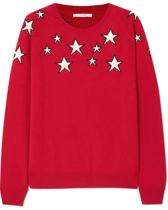 Chinti and Parker Stardust Intarsia Cashmere Sweater - Red
