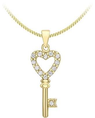 Carissima Gold Women's 9 ct Rose Gold Cubic Zirconia Disc Loop Pendant on Diamond Cut Curb Chain Necklace bXgAQKtYC