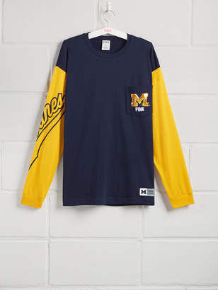 PINK University Of Michigan Sequin Bling Campus Long Sleeve Tee