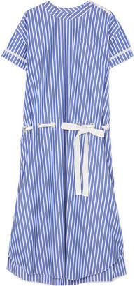 Sacai Lace-trimmed Striped Cotton-poplin Dress - Blue