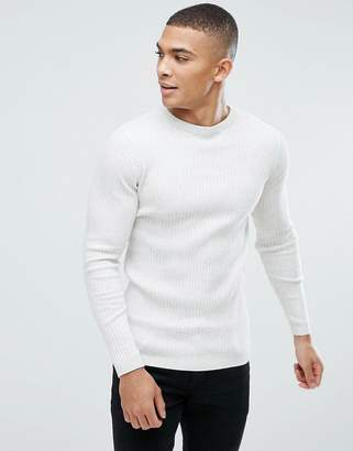 New Look Ribbed Muscle Fit Sweater In Cream Marl