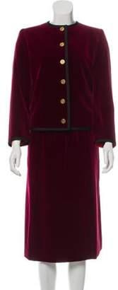 Valentino Velour Skirt Suit red Velour Skirt Suit