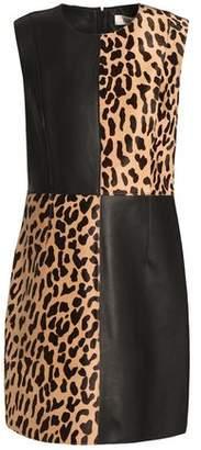 Diane von Furstenberg Leather And Leopard-Print Calf Hair Mini Dress