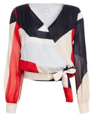 Tanya Taylor Klara Colorblock Silk Wrap Top