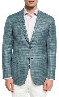 Brioni Check Wool-Silk Sport Coat, Light Green