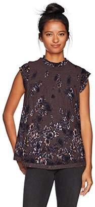 Jolt Women's Floral Print Peplum Blouse with Criss-Cross Back