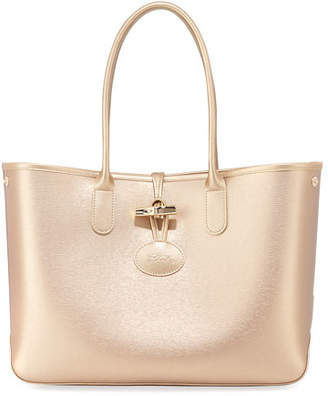 Longchamp Roseau Metallic Leather Shoulder Tote Bag