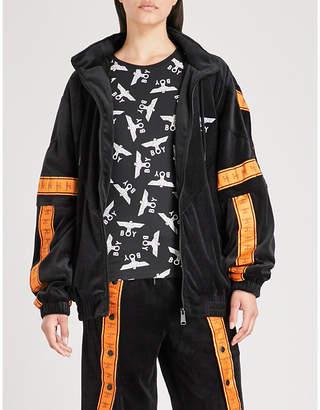 Boy London Branded-tape velvet jacket