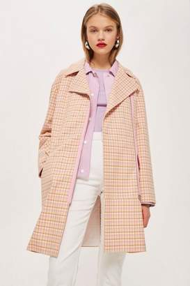 Topshop Premium pastel checked coat
