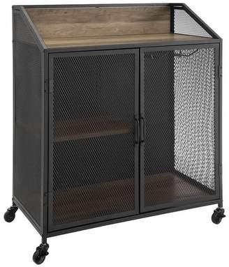 Walker Edison 33 Urban Industrial Bar Cabinet Rolling Cart With Mesh Doors
