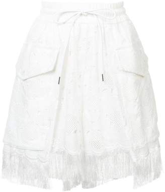 Sacai embroidered fringed shorts