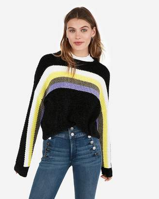 Express Velvet Thermal Striped Crew Neck Pullover Sweater
