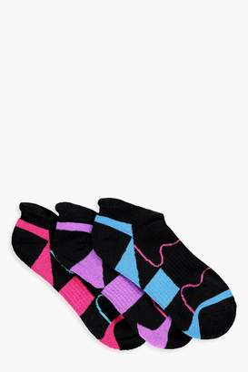 boohoo 3 Pack Geometric Sports Trainer Socks