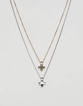 Burton Menswear double cross necklace in silver and gold