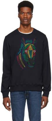 Paul Smith Navy Embroidered Zebra Sweatshirt