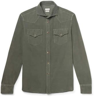 Brunello Cucinelli Cutaway-Collar Cotton-Corduroy Western Shirt - Men - Green