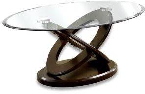 Furniture of America Tayah Contemporary Glass Coffee Table, Dark Walnut