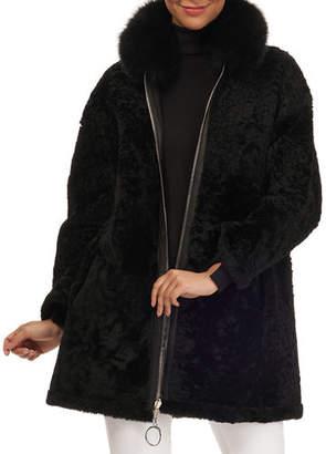 Christia Suede Lamb-Shearling Coat with Fox Fur Collar