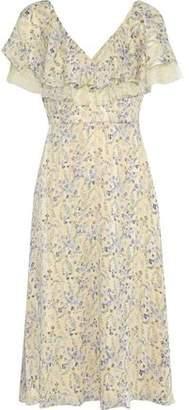 Mikael Aghal Point D'esprit-trimmed Floral-print Jacquard Midi Dress