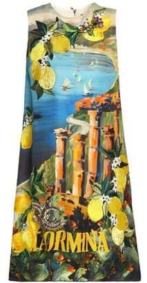 Dolce & Gabbana Paneled Embellished Printed Silk-Crepe Dress