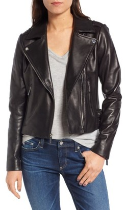 Women's Michael Michael Kors Buckle Detail Leather Moto Jacket $388 thestylecure.com