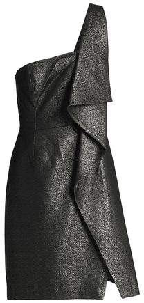 One-Shoulder Metallic Ruffled Woven Mini Dress