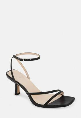 Missguided Black Strappy Low Heeled Sandals