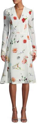 Narciso Rodriguez Floral Long-Sleeve V-Neck Silk Midi Dress