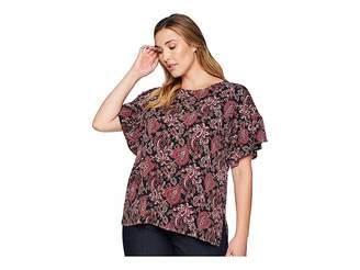 MICHAEL Michael Kors Size Sweetheart Ruffle Sleeve Top Women's Clothing