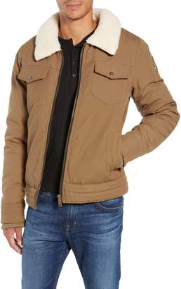 Moose Knuckles Moose Knuckle Faux Shearling Collar Canvas Trucker Jacket