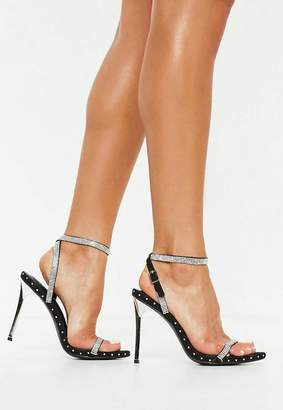 Missguided Black Embellished Studded Barely There Heels