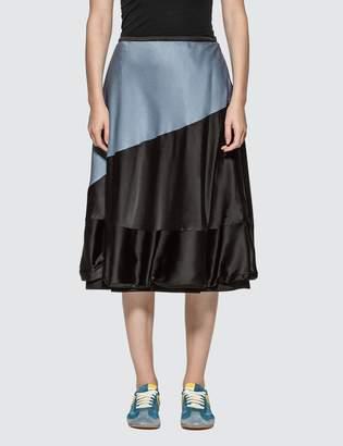 Loewe Two-Tone Satin Midi Skirt