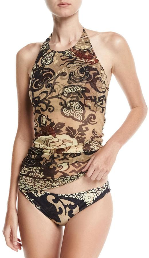 Fuzzi Vintage Floral Two-Piece Tankini Swimsuit Set, Black/Brown 2