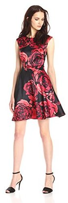 Donna Morgan Women's Short Sleeve Dupioni Fit and Flare Dress with Floral Print $94.86 thestylecure.com