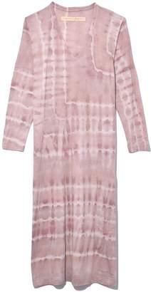 Raquel Allegra Long Sleeve V-Neck Caftan Dress in Rosebud Tie Dye