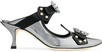 Dolce & Gabbana Cutout Embellished Mirrored-leather Mules - Gunmetal