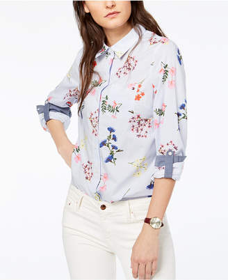 Tommy Hilfiger (トミー ヒルフィガー) - Tommy Hilfiger Cornell Roll-Tab-Sleeve Mixed-Print Shirt, Created for Macy's
