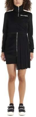 Palm Angels Logo Printed Turtleneck Asymmetric Dress