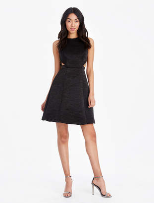 Halston Shimmer Jacquard Dress With Cut Outs